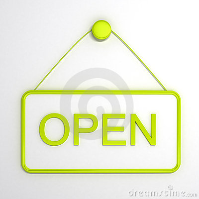 Open sign over white background