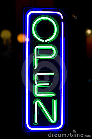 Open Sign on Store Door