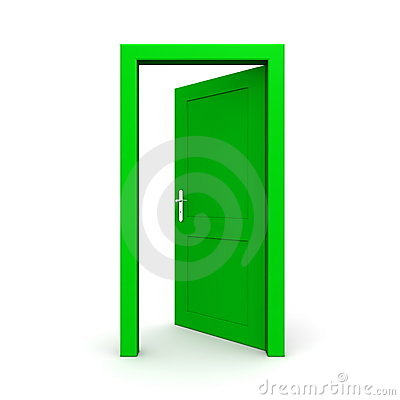 Open Single Green Door Royalty Free Stock Images Image