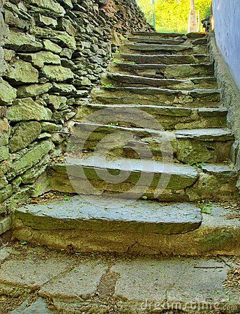 Free Open Small Steps At Old Building, Old Worn Out Stony Steps Behind House. Stony Wall From Raw Boulders Stock Photo - 41555530