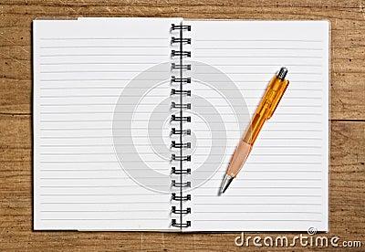 Open spiral notebook.