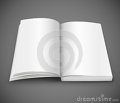 Open spread of book with blank white pages