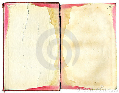 Open, stained book