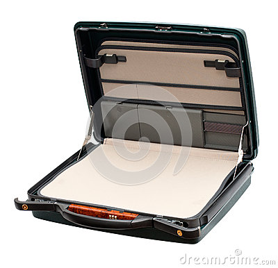 Open suitcase isolated on white background