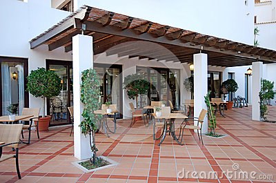 Open terrace cafe algarve portugal stock photo image for Terraces opening times