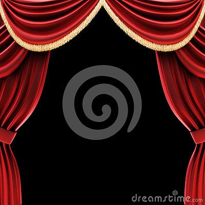 Free Open Theater Drapes Or Stage Curtains Royalty Free Stock Image - 31434416