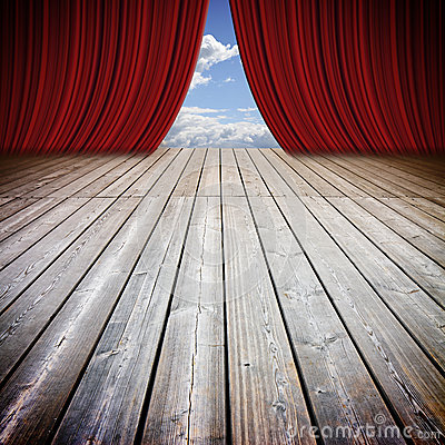 Free Open Theater Red Curtains And Wooden Floor Against A Cloudy Sky Royalty Free Stock Images - 85904749