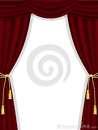 Free Open Theatre Curtains On White Stock Images - 28491094