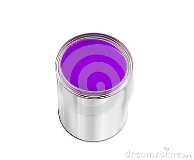 Open tin can with violet paint isolated on white