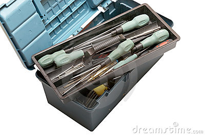 Open tool box with screwdrivers on top