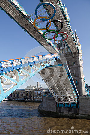 Open Tower bridge decorated with Olympic rings Editorial Stock Image