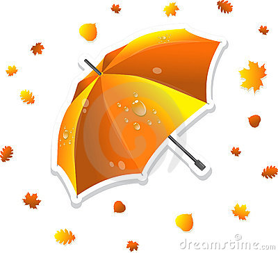 Open umbrella and swirling leaves