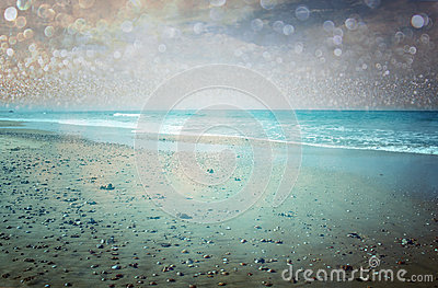 Open view of beach and bokeh lights abstract background. dreamy effect.