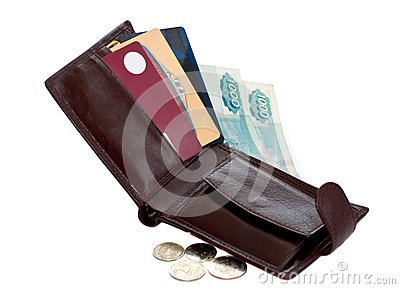 Open Wallet With Money And Credit Cards Stock Photo - Image: 18980270