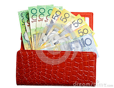 Open wallet with money on isolated white