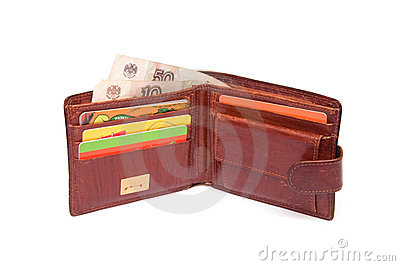 Open wallets with discount cards and money