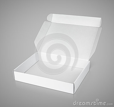 Open white blank carton pizza box