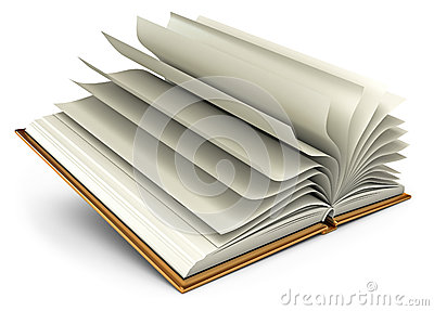 Open white book. Isolated on white