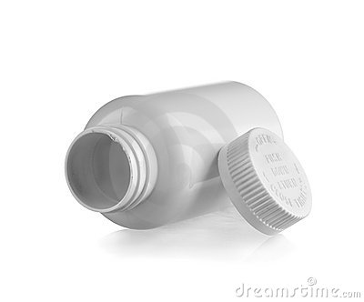 Open white medicine bottle lay down