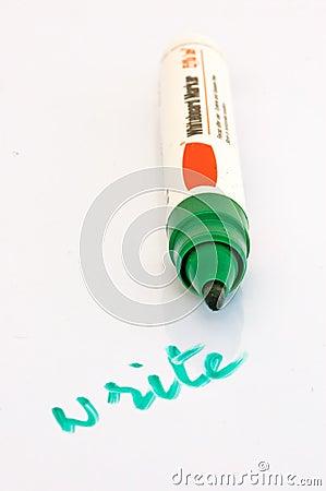 Open whiteboard marker with write written with it