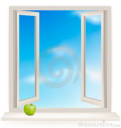 Open window against a wall and the cloudy sky