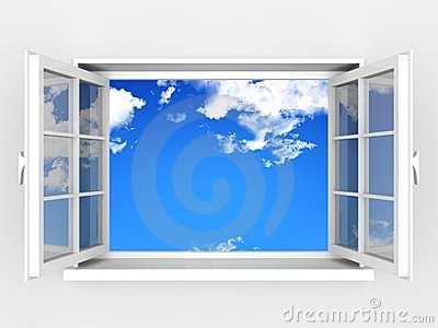 Open window against a white wall and cloudy sky