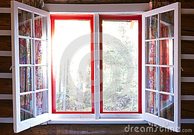 Open window in cottage
