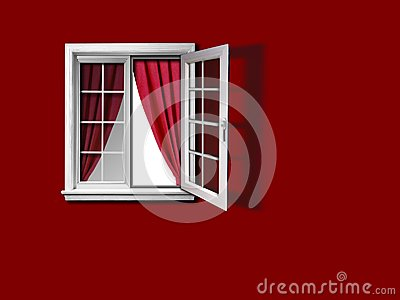 Open window with curtain and red wall