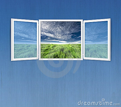 Open window freedom concept on blue wall
