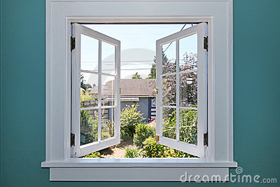 Open window to the back yard with small shed.