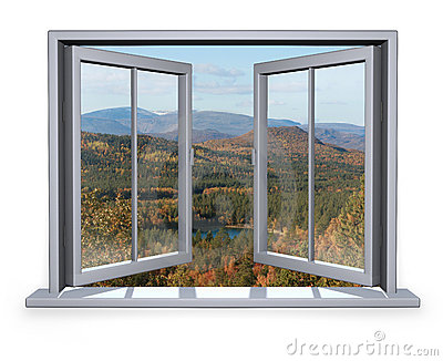 Open window with a view to the mountain
