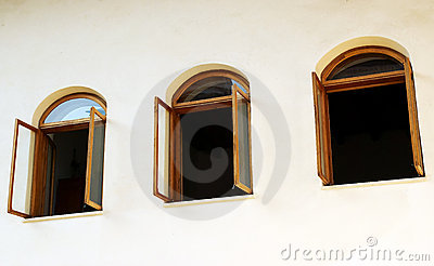 Open windows on white wall