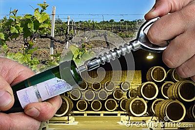 Open wine bottle