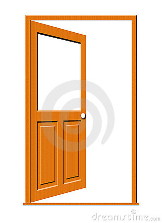 Open Wood Door with Blank Window