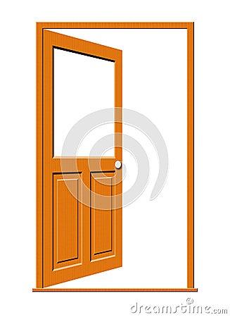 Open Wood Door with Blank Window