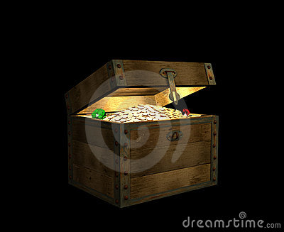 Open wooden 3d chest, filled with treasures