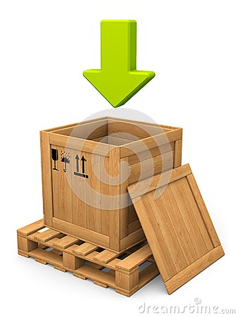 Open wooden box and green arrow. Download concept.