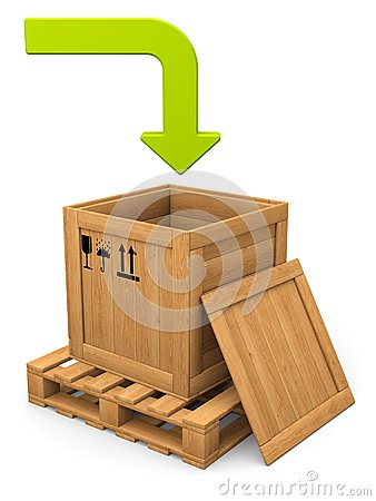 Open wooden box and green bent arrow. Download concept.