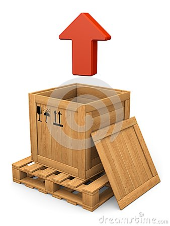 Open wooden box and red arrow. Extract concept.