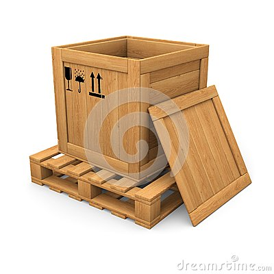 Open wooden with print box on pallet