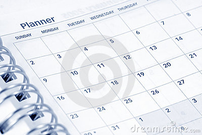 Opened agenda Stock Photo