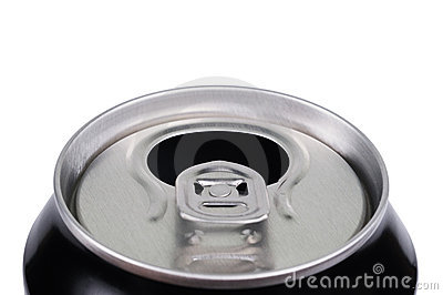 Opened aluminum can for soft drinks