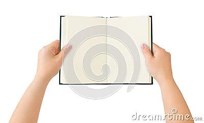 Opened book in hands