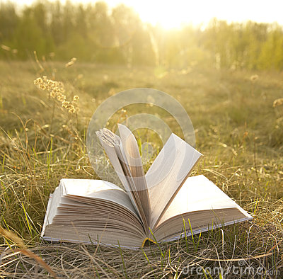 Opened book with landscape