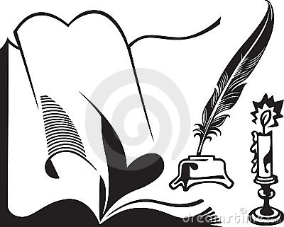 Opened book, quill and candle