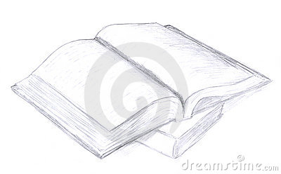 Opened book sketch, icon