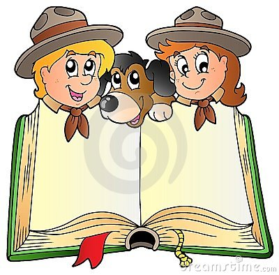 Opened book with two scouts and dog
