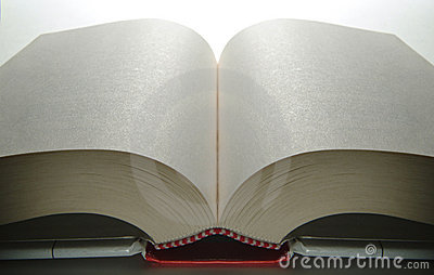 Opened book with white pages
