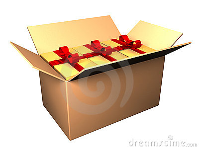 Opened box with gifts