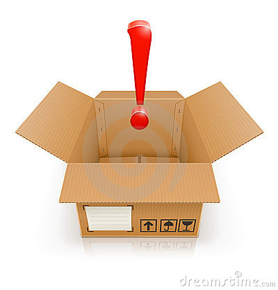 Free Opened Box With Exclamation Mark Stock Photo - 23930180